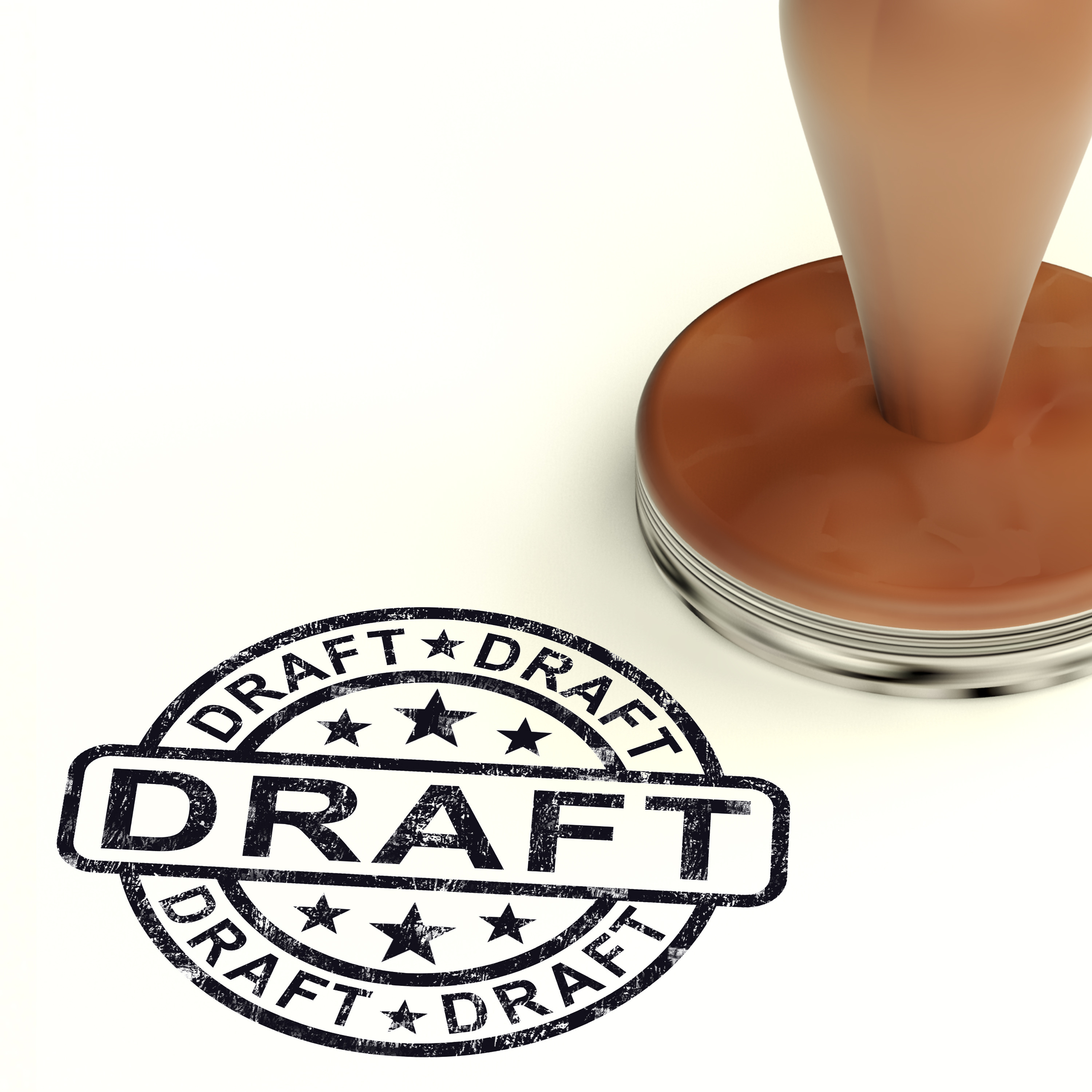 Draft Stamp Shows Outline Document Or Letters