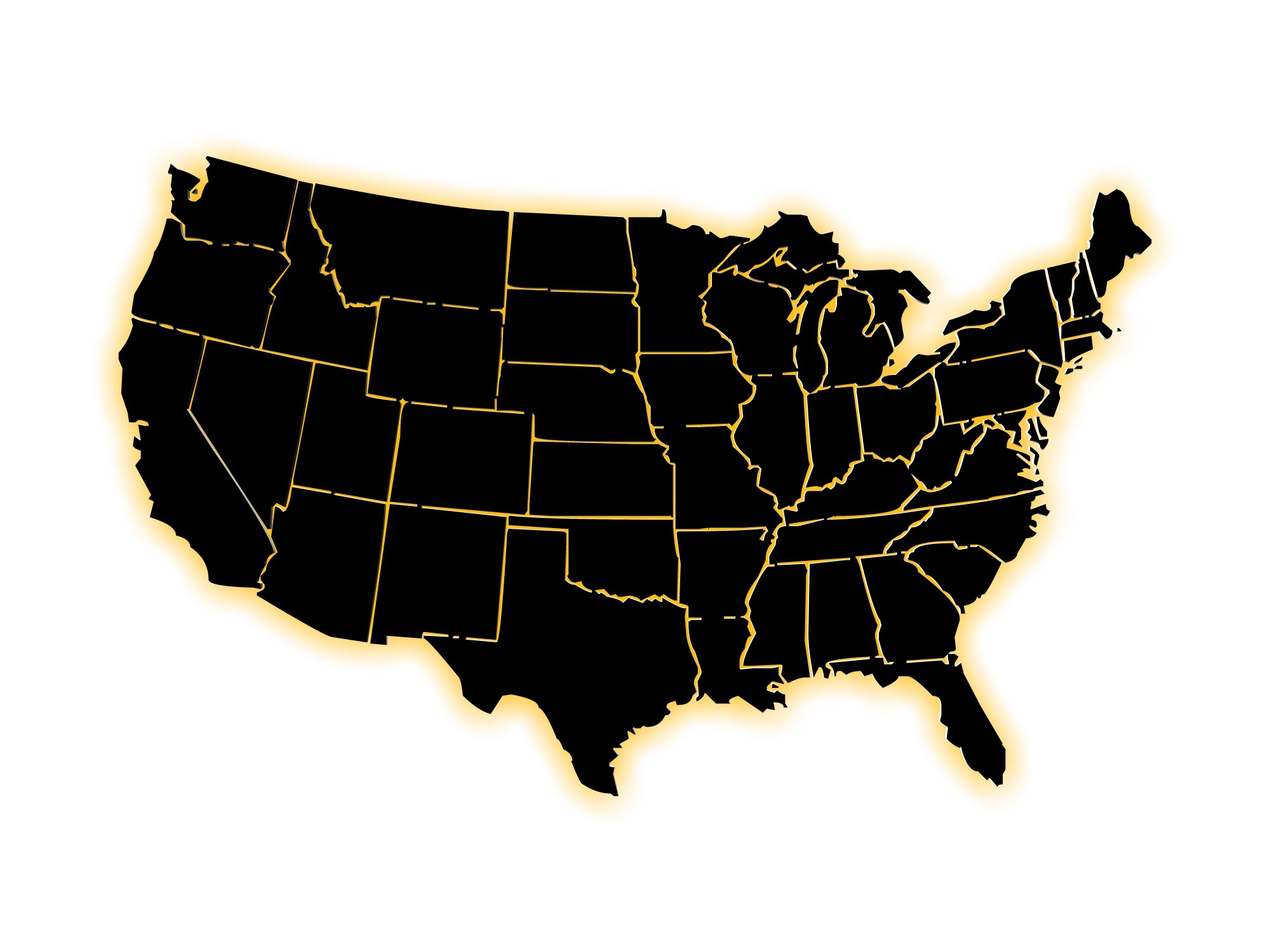 Black US map, divided states
