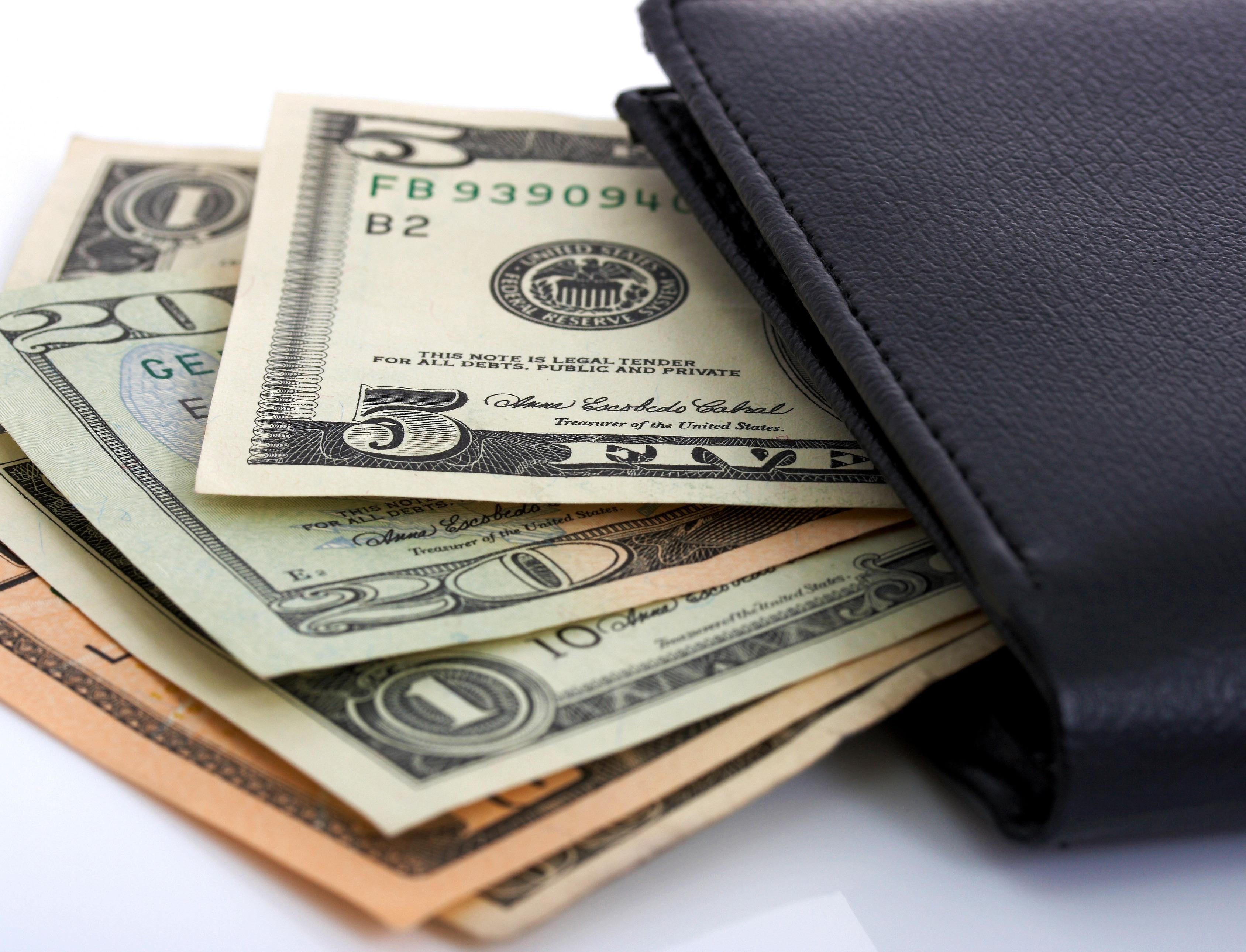 Dollars Cash In A Black Wallet