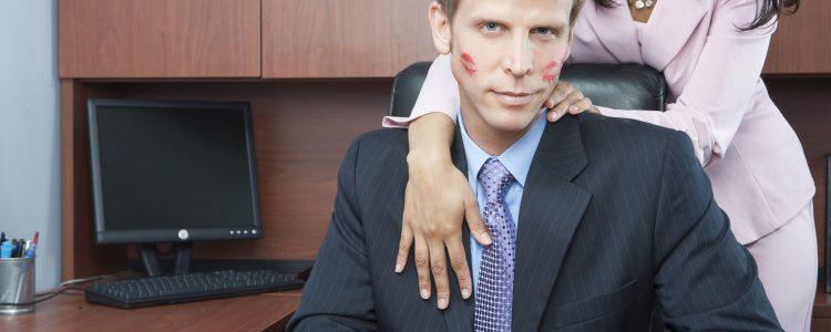 Woman seducing man in office